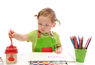 kid is painting
